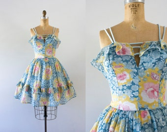 1970s Sweet Bliss floral sweetheart dress / 70s summer love
