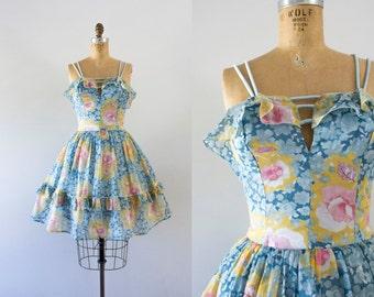 1970s Sweet Bliss floral sweetheart dress / 70s summer love