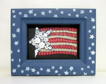 Folk Art American Flag, Patriotic USA Flag, American Flag, Framed in Reclaimed Wood, Blue or Red Frame ,White Stars,Red, White and Blue