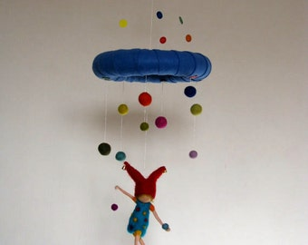 Waldorf inspired needle felted mobile - happy gnome juggler