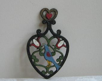 Vintage Cast Iron Trivet Pot Holder Black Hand Painted Scandinavian Folk Art Heart Bird Tulips, Bohemian Wall Art