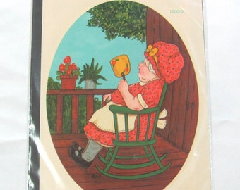 Vintage Meyercord Home Decor Decal Sheet Woman In Rocking Chair 1700-D