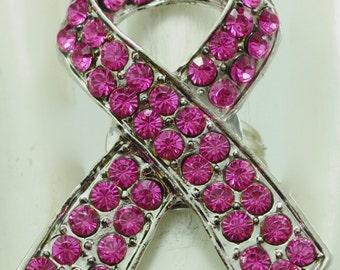 Breast Cancer Pink Ribbon Ring/Pink Rhinestone/Silver/Symbol/Awareness/Hope/Adjustable/Under 20 USD