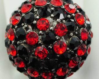 Dome Rhinestone Ring/Red/Black/Statement Ring/Gift For Her/Holiday/Christmas Jewelry/Adjustable/Under 15 USD