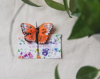 orange butterfly hair pin clip