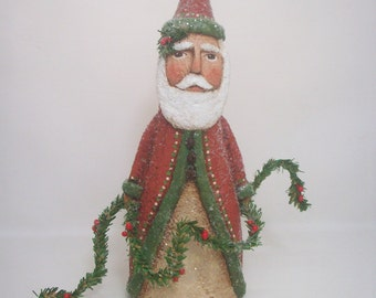 Paper Mache Santa- Folk Art Santa, Primitive Santa, Santa Sculpture