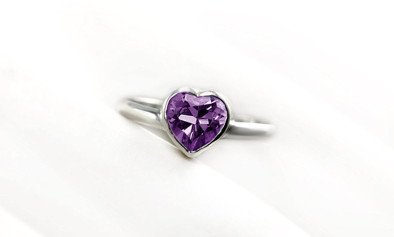 purple amethyst heart ring sterling silver 14k palladium. Black Bedroom Furniture Sets. Home Design Ideas