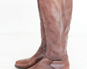 The Horsey Type, Vintage Chocolate Brown Leather Riding Boots From Paris