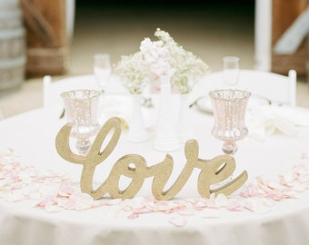 "Wedding Sign ""Love"" Champagne Gold or Custom Painted Large Wedding Table Sign for Wedding Reception Bridal Shower Home Decor (Item - TLO100)"