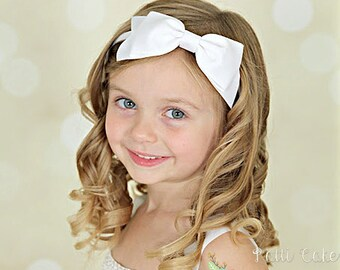 White Bow Headband/Toddler Snow White Headband/Big Bow Headband/White Head Band/White Hairbows on Hard Headband for Girls