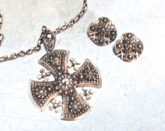 vintage Jerusalem sterling silver jewelry set - 1950s-60s cross necklace & clip-on earrings set