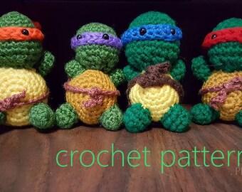 Teeny Tiny Ninja Turtles Crochet Pattern Digital Download
