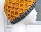 Crochet Lattice Hat - Orange with Grey, Wool-blend