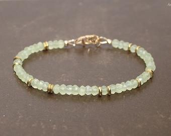 Prehnite Bracelet, Prehnite Jewelry, Brass, Beaded, Layering, Gemstone Jewelry