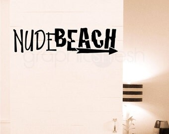 Wall decal NUDE BEACH SIGN with an arrow - Humor decor by GraphicsMesh