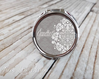 Bridesmaid Gift - Personalized Wedding Compact Mirror - Vintage Lace Damask in Steel Gray
