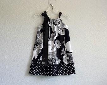 Girls Black and White Pillowcase Dress - Black and White Floral Dress - Flowers and Polka Dots -  Size  12m, 18m, 2T, 3T, 4T, 5, 6, 8 or 10
