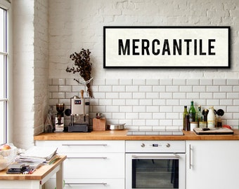 MERCANTILE Sign, Personalized Kitchen Art, Farmhouse Decor, Large Canvas Art, Kitchen Sign, Vintage Home Decor, Subway Art, Advertising Sign