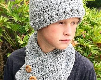Beanie Hat Neck Warmer Crochet Pattern, Men's Hat, Neck Warmer Crochet Pattern, Boy's Beanie Neck Warmer Crochet Pattern, Crochet Pattern