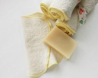 Organic hemp fleece cloth wipes, washcloths, reusable, washable, eco friendly, 8x8 set of 6