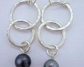 Sterling Silver Double Link Tahitian Pearl Earrings