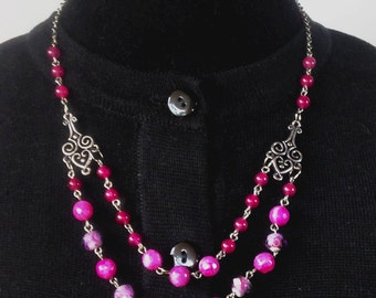 Rose Quartz, Purple Agate, Glass and Antique Silver Necklace & Earring Set - Mid Century  Modern - Vintage Inspired