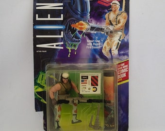 Aliens Space Marine Drake Action Figure Doll Toy Gun 90s Boys Scifi Vintage on Card MOC By Kenner