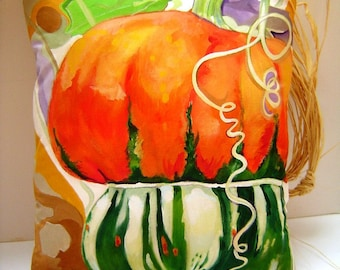 Pumpkin Squash Pillow 12x13- Hand Painted Pillow Festive Pop of Color Autumn Home Accent Whimsical Gourd Pumpkin Orange