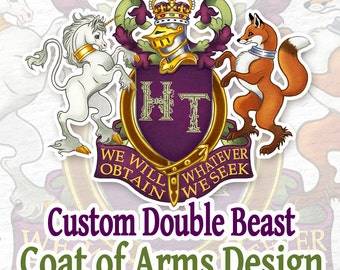 CUSTOM Double Beast Coat of Arms / Heraldry for Couples or Family