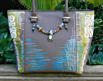 Tribal Immunity Hand Painted Vegan Leather  ~ Makena (Dwennimmen) Gray Painted Tote Handbag with African beads