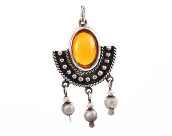 BOMA PENDANT STERLING Silver 925 Amber Orange Glass Jewelry Signed Designer Jewellery Belly Dance Dangle Vintage