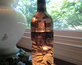 Halloween,halloween light,halloween decorations,lighted wine bottle,wine bottle light,lighted bottles,lamp,bare tree,wine bottle lamp,wine