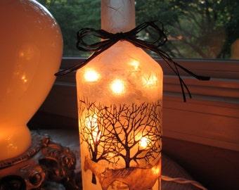 wine bottles with lights,wine bottle lights,wine bottle lamp,lamp,lamps,horse,western decor,lighted wine bottles,glass lighted bottles