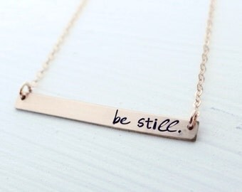 Be Still Gold Bar Necklace. Thin Bar Necklace. Be Still & Know. Christian Jewelry. Minimalist Simple Jewelry. 14 kt Gold.