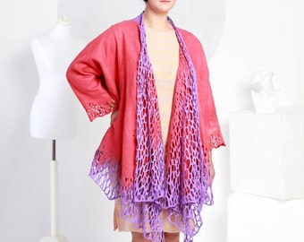 Felted jacket Alar lace purple red handmade original exclusive wraps comfortable Regina Doseth handmade in Lithuania Europe large
