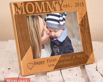Personalized Mothers Day Gift -Happy First Mothers Day Picture Frame-First Time Mothers Gift-Gift For Mom-Thoughtful Christmas Gift