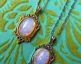 Opal Dreaming // Petite Vintage Fire Opal Pendant Necklace in GOLD or SILVER, 1950s Pink Fire Opal, Boho Bridal Birthstone Art Deco Bohemian