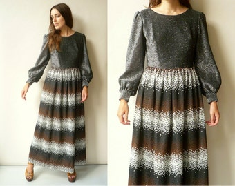 1970's Vintage Glittery Bohemian Hippie Maxi Dress With Lurex Threads Size Small