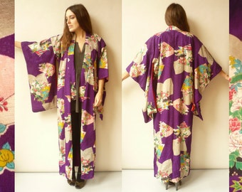 1940's Vintage Antique Japanese Floral Full Length Kimono Robe Duster Jacket
