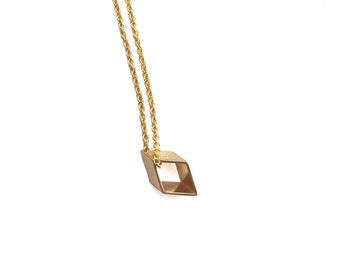 Tiny Rhombus Necklace, Dainty Small Diamond Shaped Geometric Pendant, gift for her, Minimal Bridesmaids Favors