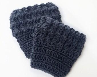 Mountain Tops Boot Cuffs - Womens - Charcoal, Gray - Crochet, FREE SHIPPING