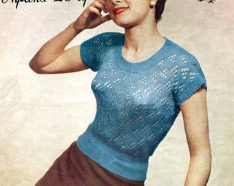 Light and Lacy 1950s Ladies Jumper Blouse 34 to 36 Bust Robin 453 Vintage Knitting Pattern Download