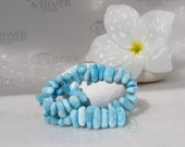 Larimar nuggets, sorted Larimar beads, elongated chips, aqua blue, water blue, ice blue, sky blue, topaz blue - handmade beads, 8'' strand
