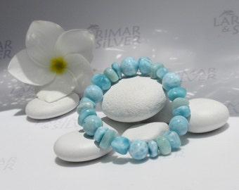 "Larimar stretch bracelet by Larimarandsilver, The Casual Mermaid 14 - aquamarine Larimar mixed beads, handmade, healing bracelet size 6.5"""