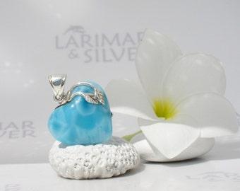 Larimarandsilver pendant, Love Island - Swiss blue Larimar heart, blue heart, turtleback, siren heart, azure organic handmade Larimar choker