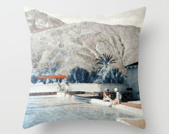 Mid Century Pillow Cover, Decorative Pillow, Palm Springs Smoke Tree Ranch Swimming Pool,Mid Century Sofa Mid Century Decor MCM Throw Pillow