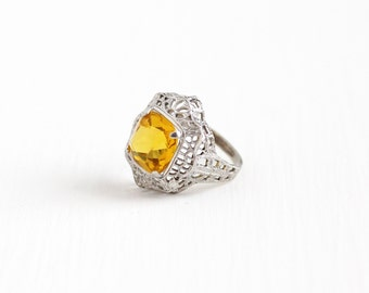 Sale - Vintage Art Deco Sterling Silver Simulated Citrine Ring - Antique 1920s Size 4 3/4 Filigree Orange Yellow Glass Statement Jewelry
