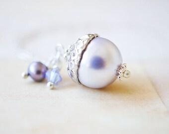 Necklace, Acorn Necklace, Pearl Necklace, Silver Necklace, Peter Pan Necklace, Swarovski Necklace, Lavender Necklace, Handmade Necklace