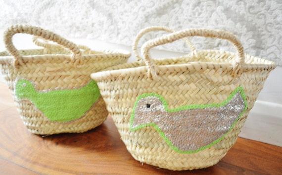 February Trend- Kids Basket Panier Lime Green -great for Storage, nursery, beach, picnic, holiday, Marrakech Basket Bag