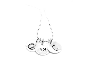 Baseball Softball with Number and Initial Necklace: Hand Stamped Silver